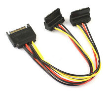 15cm 90 degree SATA 15-Pin Male to 2 x 15P Female Y Splitter Adapter Power Cable