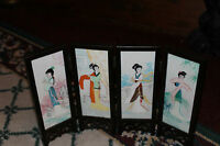 Chinese Miniature Room Divider Painted Geisha Girls Flowers 4 Panel Screen