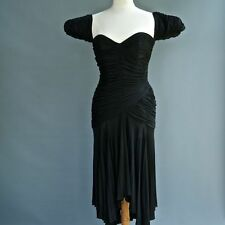 VTG Fabian Molina Black Cocktail Dress Heavily Shirred Ruched Curvy Body Con S 8