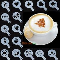 16pcs Plastic Coffee Milk Cake Gift Stencil Template Mold Coffee Decorative Tool