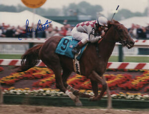 "Funny Cide 2003 Preakness Stakes 8"" x 10"" Photo Signed Jose Santos"