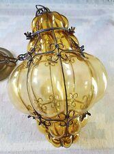 MURANO SEGUSO NICE caged lantern pendant light chandelier amber hand blown 60's