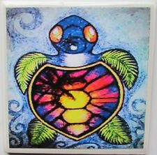 Set of 4 - Handmade Natural Stone Ceramic Tile Drink Coasters - Baby Turtles - B