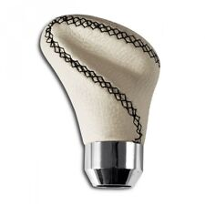 Universal Car Gear Shift Knob White Leather Shifter Lever Stick Cover Black Auto