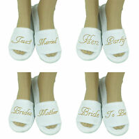 Gold Hen Party Spa Slippers wedding Bride Bridesmaid personalised Bridal (OT)