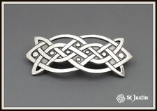 CELTIC OBLONG KNOT HAIR SLIDE ~ PEWTER ~ FROM ST. JUSTIN ~ FREE P&P ~ UK MADE
