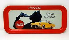 """Vintage Coke Metal Serving Tray """"Drive Refreshed"""" Wear 19 x 8.5"""" Wide Rectangle"""