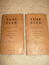 Two Copies Brotherhood's Relief And Compensation Fund Time Books, 1955, 1956