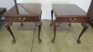 Drexel Chippendale End Tables Side Mahogany Claw Feet