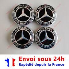 LOT 4 Caches Moyeu Emblème Mercedes Logo Jantes Centre Roue Noir 75 mm
