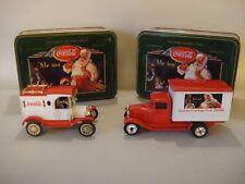 Set of 2 Ertl Christmas Edition Coca-Cola Die Cast Trucks in Metal Tins - MINT