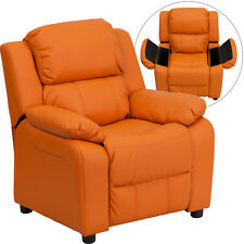 Flash Furniture Contemporary Orange Vinyl Padded Kids Recliner with Storage Arms