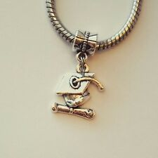 Graduate Cap Diploma Graduation Silver Dangle Bead Fits European Charm Bracelet