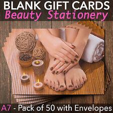 Gift Voucher Card Beauty/Nail Salons/Nail Technicians - x50 + FREE Envelopes PM