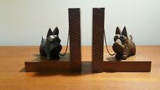Vintage PAIR SCOTTIE DOGS TERRIER BOOKENDS Hand Carved Wood Black Forest