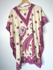 Elegant THIN INDIAN COVERUP DRESS paisley muumuu mumu kaftan caftan house floral