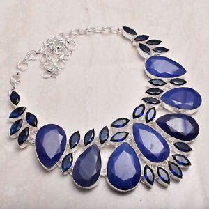Blue Sapphire Tanzanite Handmade Big Necklace Jewelry 112 Gms LBN-3511