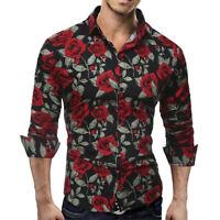 Camisas Modernas Rojas de Moda Floreadas Para Hombre De Vestir Para Hombres