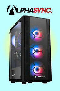 AlphaSync PC Gaming Server Tower Case LP-F2007 Glass Side & Front 4 x RGB Fans