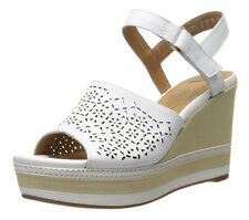 New Clarks Collection ZIA GRAZE Platform Wedge Women Leather Sandals Size 9.5