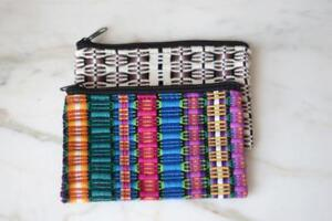 Colorful Mexican Woven Cosmetic Travel Bags from Oaxaca Mexico Boho
