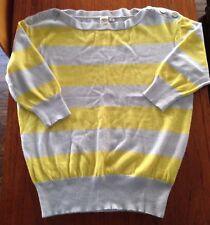 Anthropologie 100% CASHMARE Gray & Yellow Striped Sweater Size Medium