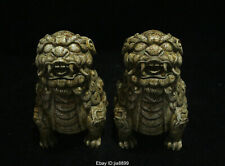 Rare Chinese Hongshan Culture Old Jade Stone Carving Foo Fu Dog Lion Statue Pair