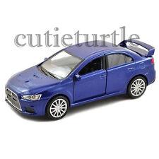 "4.75"" Welly Mitsubishi Lancer Evolution X 1:32 Diecast Toy Car 43655D Blue"