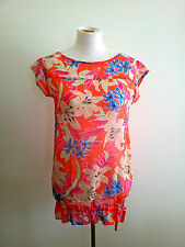 Replay size M orange floral top with cap sleeve and drawstring hemline