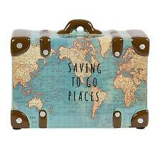 Saving To Go Places Vintage Retro Map Print Suitcase Money Pot Savings Jar