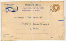 W123 1949 GB BEDS Registered Postal Stationery Envelope RP66H {samwells-covers}