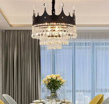 LED Crown Crystal dining room lamp European black/gold hall bedroom bedroom