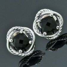 David Yurman Jewelry 925 Sterling Silver Black Onyx Infinity Earrings