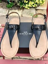 Coach Candace Women's Black Soft Vegan Leather Sandals, Size 8, NEW in Box
