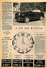 3 CV ROVIN, 7 CV SIMCA ARONDE ARTICLE DE PRESSE 1952
