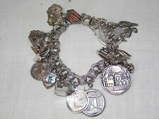 VTG STERLING SILVER CHARM BRACELET Loaded with Travel Charms 75.35g