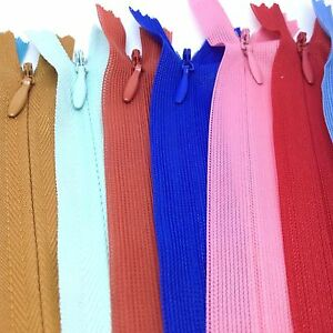 5 x Set of Zips For Dress Upholstery Craft Repair 16 Inches Zip Select Colour
