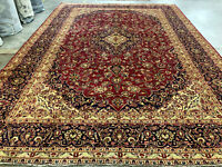 10x14 RED PERSIAN RUG HAND KNOTTED WOOL rugs antique oriental navy blue handmade