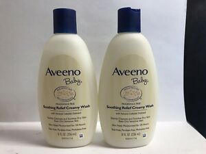 (2) Aveeno Baby Soothing Relief Creamy Wash-For Dry, Sensitive Skin-8oz. Each