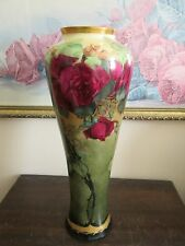 """PL Limoges France Hand Painted Red Roses Vase Signed M. B. A. Sleeper 13.5"""""""