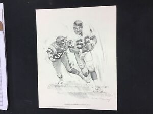 1981 Shell Oil Co Nick Galloway Lawrence Taylor New York Giants 11x14 Inch Print
