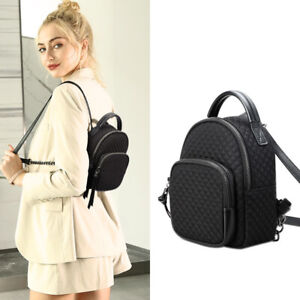 Convertible Small Mini Quilted Nylon Backpack Rucksack Daypack Crossbody Purse