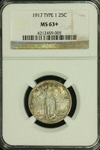 Standing Liberty Silver Quarter. 1917 P. T1 NGC MS 63+ Toning. Lot # 4212459-005