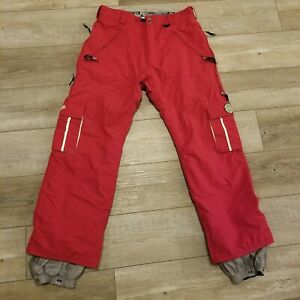 686 Enterprises women snowboard insulated cargo pants large red detachable liner