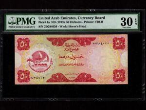 United Arab Emirates (UAE):P-4,50 Dirhams,1973 * 1st Issue * PMG VF 30 EPQ *