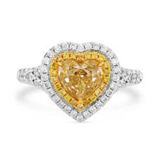 1.64Ct Real Heart Cut Fancy Yellow Diamond Ring Natural 18K White Gold Certified
