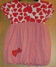 PITTER PATTER GIRLS 2-3 YEARS RED HEART / STRIPED PUFFBALL DRESS