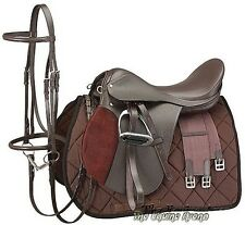 15 Inch All Purpose English Saddle Package - Havana Brown - All Leather