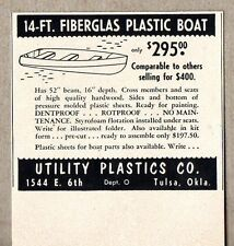 1954 Print Ad Utility Plastics 14' Fiberglass Boats Made in Tulsa,OK