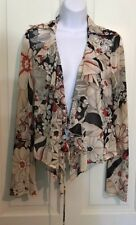 Lucky Brand Women's Size Small Sheer Floral Career Blouse Tie Front L/S Shirt